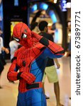 Small photo of Bangkok, Thailand - July 8, 2017: Cute Spiderman Cosplay from the Movie Spider-Man: Homecoming at the theater to promote the movie.