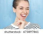 nice close up portrait of young ... | Shutterstock . vector #673897861