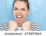 close up portrait of excited...   Shutterstock . vector #673897864