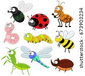 set of cartoon funny insects.... | Shutterstock .eps vector #673903234