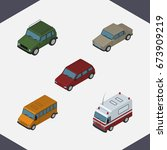 isometric car set of auto ...