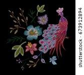 peacock  bird.traditional folk... | Shutterstock .eps vector #673912894