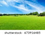 green field and blue sky | Shutterstock . vector #673916485