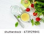 homemade salad dressing...   Shutterstock . vector #673929841