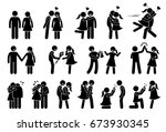 happy couple and lover.... | Shutterstock . vector #673930345