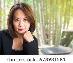 asian business woman with blur... | Shutterstock . vector #673931581