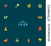 set of 13 child icons set... | Shutterstock .eps vector #673948411