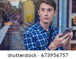 biometric verification. modern... | Shutterstock . vector #673956757