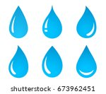 set of blue water drop icons on ... | Shutterstock . vector #673962451