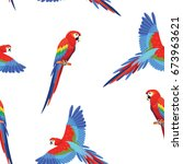 pattern with parrots. seamless... | Shutterstock .eps vector #673963621