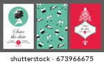 a set of wedding greeting cards.... | Shutterstock .eps vector #673966675