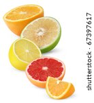 Isolated Citrus Fruits. Pieces...