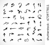 hand drawn arrows  vector set | Shutterstock .eps vector #673977811