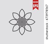 flower icon isolated on grey...