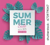 summer sale banner with paper... | Shutterstock .eps vector #673979047