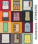 vector cupboards and croft... | Shutterstock .eps vector #673981981