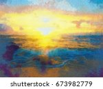 Colorful Oil Painting Sunset...