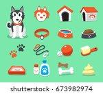cartoon siberian husky dog and... | Shutterstock .eps vector #673982974