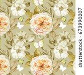 watercolor flowers pattern   Shutterstock . vector #673990207