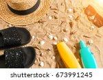 summer beachwear  flip flops ... | Shutterstock . vector #673991245