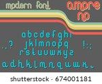vector modern font 1970s | Shutterstock .eps vector #674001181