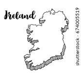 hand drawn of ireland map ... | Shutterstock .eps vector #674005519