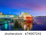 new orleans paddle steamer in... | Shutterstock . vector #674007241
