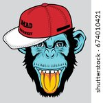 cool monkey for t shirt and... | Shutterstock .eps vector #674010421