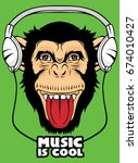 cool monkey for t shirt and... | Shutterstock .eps vector #674010427