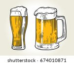 glass of beer isolated on white ... | Shutterstock .eps vector #674010871
