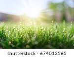 grass field and morning sun | Shutterstock . vector #674013565