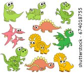 dinosaur kids and mothers... | Shutterstock .eps vector #674018755