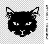 silhouette black cat face print ... | Shutterstock .eps vector #674019325