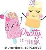 cute ice cream illustration ... | Shutterstock .eps vector #674020519