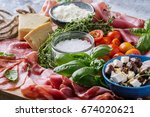 set of meat antipasti served... | Shutterstock . vector #674020621