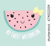 cute watermelon illustration ... | Shutterstock .eps vector #674022334