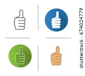 thumbs up hand gesture icon.... | Shutterstock .eps vector #674024779