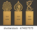 laser cut with leaves set of... | Shutterstock .eps vector #674027575