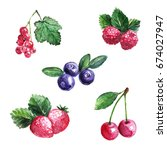 set of fruits  red currant ... | Shutterstock . vector #674027947