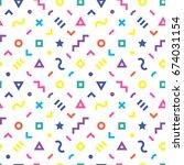 retro geometric seamless... | Shutterstock .eps vector #674031154