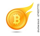 flaming bitcoin symbol  icon ...   Shutterstock .eps vector #674037751