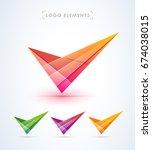 abstract checkmark logo. glossy ... | Shutterstock .eps vector #674038015