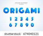 vector origami alphabet. number ... | Shutterstock .eps vector #674040121