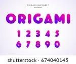 vector origami alphabet. number ... | Shutterstock .eps vector #674040145