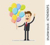 happy businessman with balloons ... | Shutterstock .eps vector #674040691