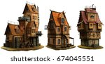fantasy buildings 3d... | Shutterstock . vector #674045551