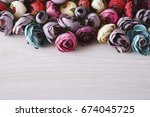 beautiful artificial flowers...   Shutterstock . vector #674045725