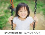 close up picture of happy face... | Shutterstock . vector #674047774