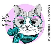 vector cat with green bow ... | Shutterstock .eps vector #674049091