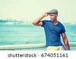 young handsome african american ...   Shutterstock . vector #674051161